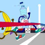 Tidy recycling efforts at the Cardiff Half Marathon.