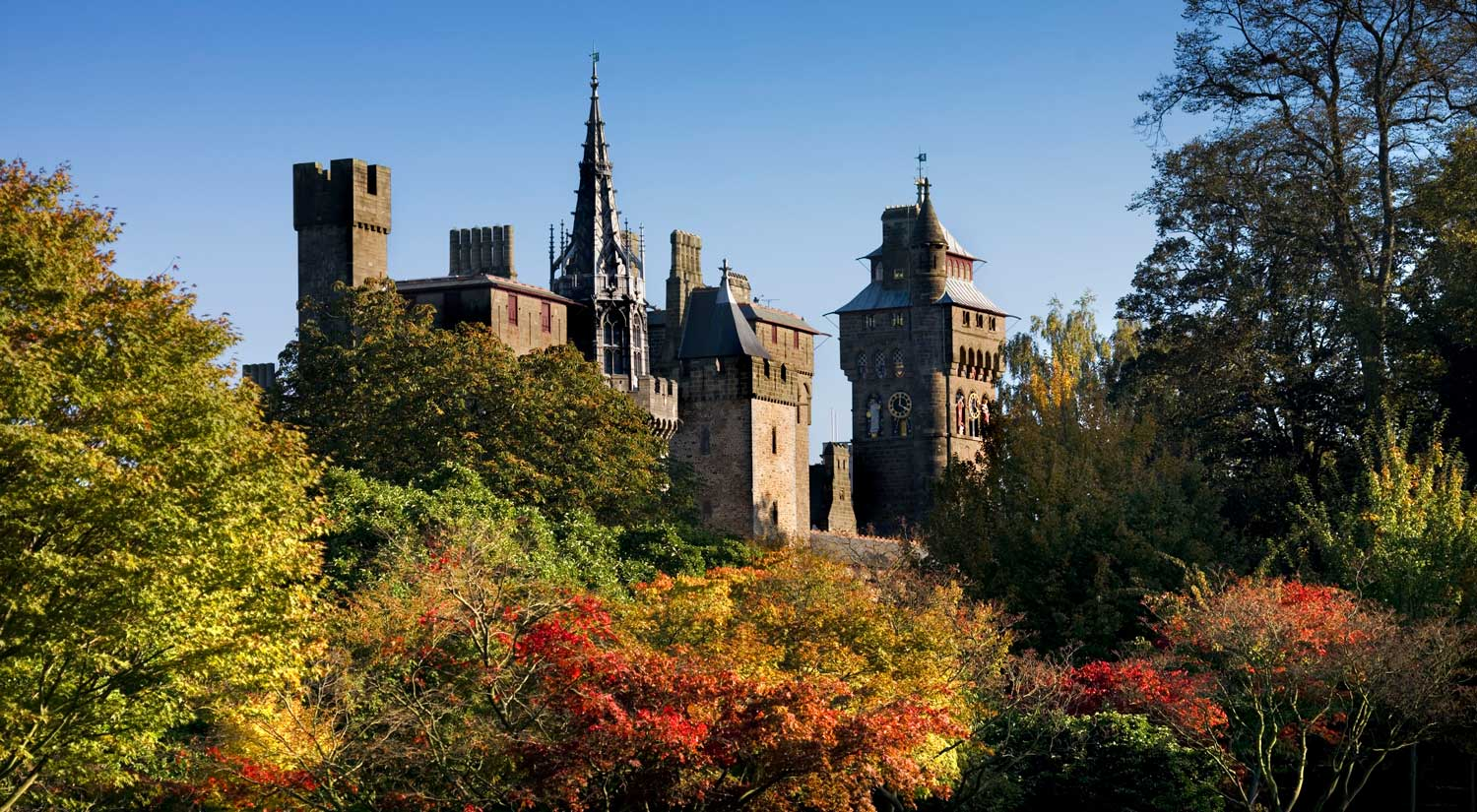 A view of Cardiff Castle from within Bute Park